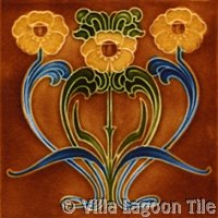 Rust colored Art Nouveau Tile