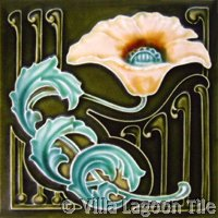 Deep Color Art Nouveau Tile