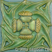 matte green art nouveau tile