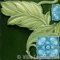 art nouveau tile with blue flowers
