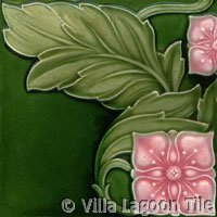 Art Nouveau tile with square flowers
