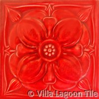 red relief art nouveau tile