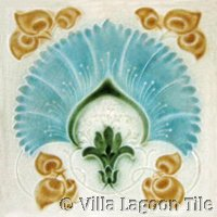 light blue flower art nouveau tile