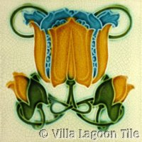 yellow and blue art nouveau tile