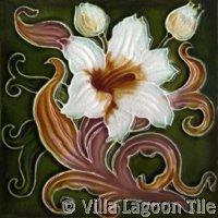 dark olive green art nouveau tile