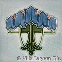blue and gray floral art nouveau tile