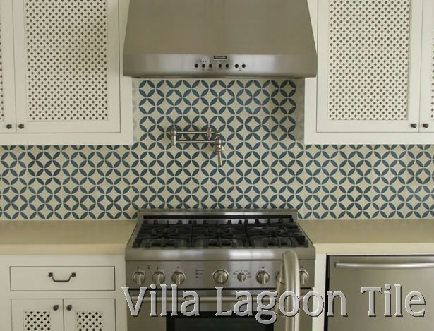 Cement tile kitchen backsplashes