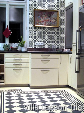 Black And White Tile Kitchen
