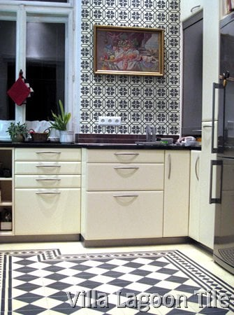 black and white tile kitchen backsplash cement tile backsplashes villa lagoon tile 9285