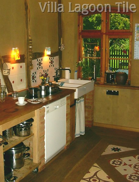 Ol;d world style kitchen with tile