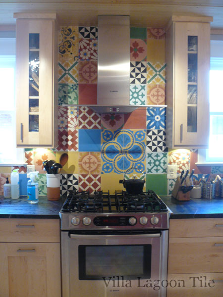 """Colorful Patchwork"" Cement Tile In Stock"