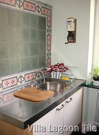 Solid color cement tile backsplash