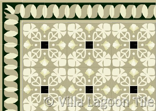 cuban patterned tile cement floor
