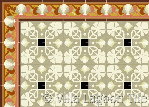 leaf patterned tile with a sea shell border in coral