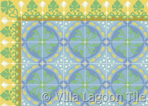 Foliage Border Sunshine with Pescado Cement Tile