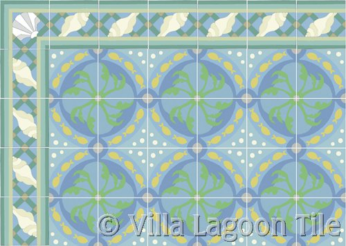 Cement tile rug with border