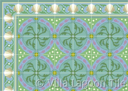 fish design tile with sea shell border