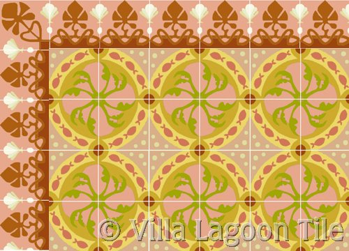 Coral colored cement floor tile