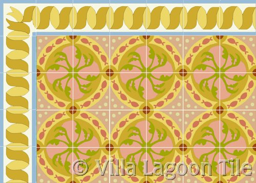 fish tile in coral colors and ribbon border in gold tile
