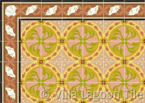 fish design tile with trellis sea shell border
