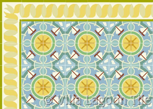 beach house tile with cute sailboat design