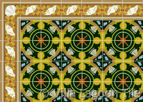 tile with sail boat and border with sea shells tile