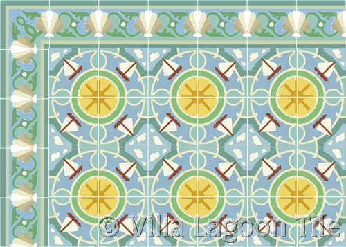 waterside sail boat tile with shell scroll border caribbean