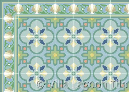 fish tile and sea shell tile border beach scene tile
