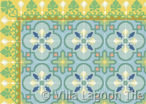 Cement tile beach house floor