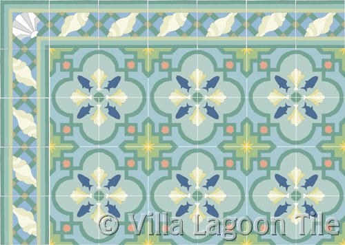 coastal tropical decor floor and seashore border in blues