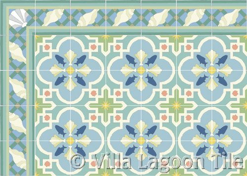 savona beach tile with sea shell border tile