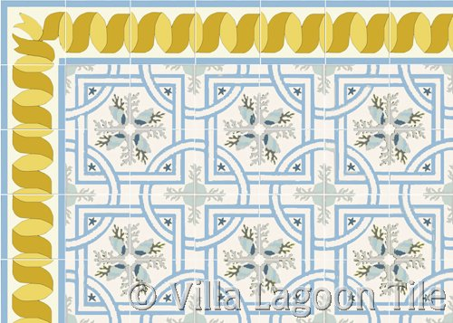 Cool blues sea shell tile floor with gold ribbon border