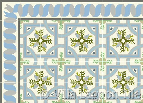 cuban tile in tropical sea shell designs