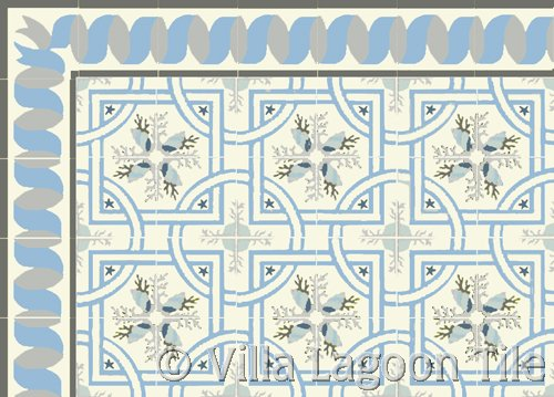 miami style cement tiles with sea shell designs