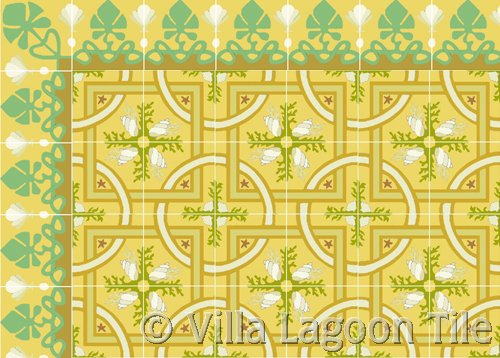 Beach house cement tile flooring