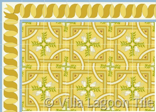 italian style yellow floor tile with gold border tile