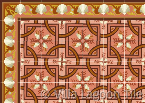 Shell Scroll Tile Cement Tile in Coral