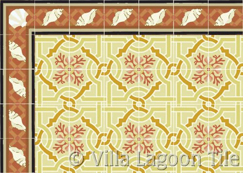 venetian tile in sunset colors w/ trellis sea shell border