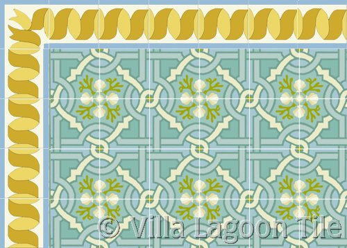 venetian style tile with gold ribbon border tile