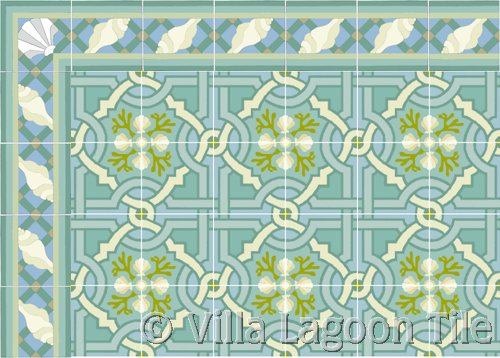 sea shell tile in blue with a beach themed border