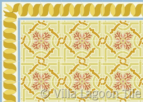 venetian encaustic tile with gold ribbon border tile