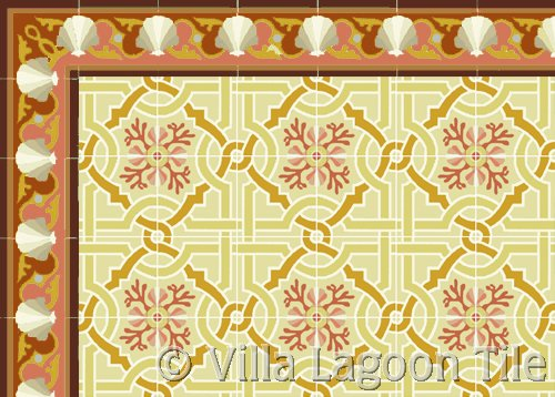 venetian style floor tile in sunset colors