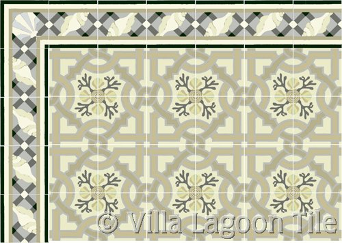 Cuban Floor Tile with Sea shell Border Tile