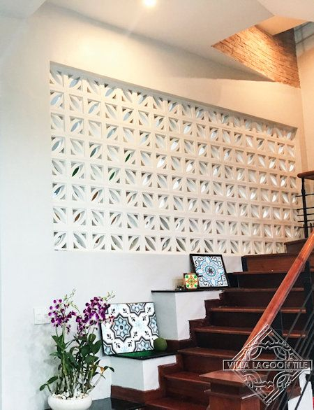 Cozumel Breeze Blocks on a building front and privacy wall, from Villa Lagoon Tile.