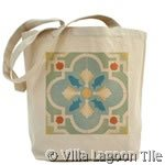 Canvas tote bag with Cuban Tile design