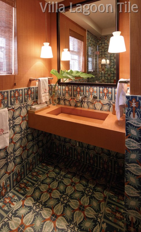 Bathroom with cement tiles