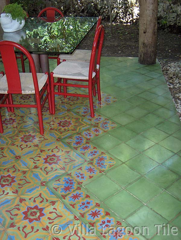 Caribbean tile dining area with cement tile