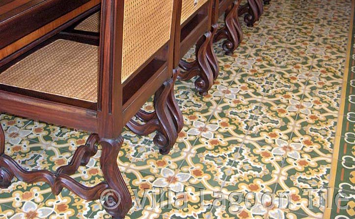 Caribbean tile dining room floor tile