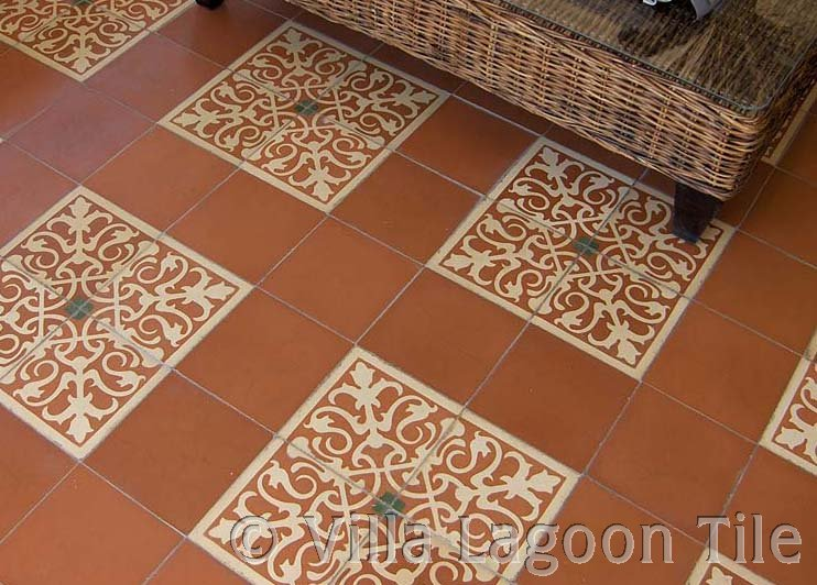 Close up of caribbean tile patio floor