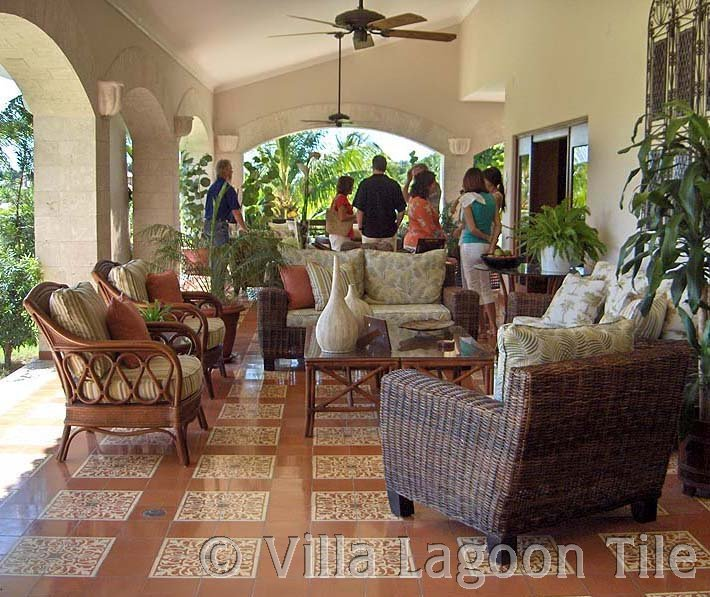 Cement tile outdoor patio room